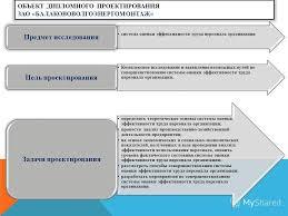 Презентация на тему ДИПЛОМНЫЙ ПРОЕКТ на тему Проект системы  2 ОБЪЕКТ ДИПЛОМНОГО ПРОЕКТИРОВАНИЯ ЗАО БАЛАКОВОВОЛГОЭНЕРГОМОНТАЖ система оценки эффективности труда персонала организации