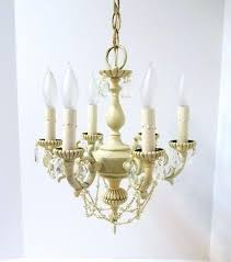 small antique crystal chandelier small antique white six light crystal chandelier petite crystal pearl shabby chic