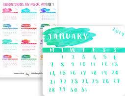 Mini Planner Calendars Calendar Planner Stickers Watercolour Mini Calendars Updated Calendar Die Cuts Printable Calendar Stickers