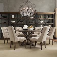 seven piece dining set: tribecca home benchwright rustic x base round pine wood wingback  piece dining set