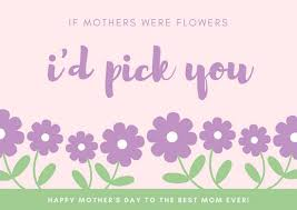 Purple And Green Flowers Mothers Day Card Templates By Canva