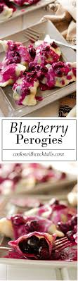 homemade blueberry perogies with blueberry sour cream sauce