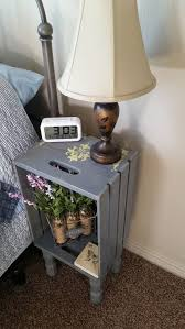 gray wooden crate nightstand with legs hand painted by crateyourhome com also sold on