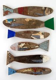 recycled wood fish wall art