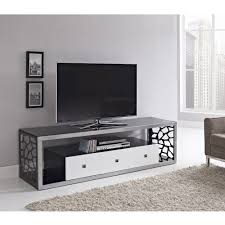 Unique Tv Stands Thick Tempered Safety Glass In A Hand Brushed Silver Steel Frame