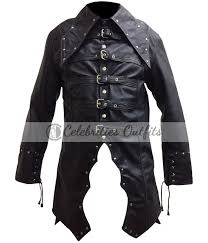 steampunk gothic black trench coat costume