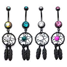 Dream Catcher Belly Button Rings Surgical Steel Black PVD Navel Belly Button Ring 100100 Colorful 42