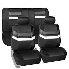 gray leatherette car seat covers front rear full set synthetic leather auto 0