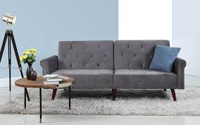 modern futon sofa bed. Becca Modern Tufted Velvet Futon In Dark Grey Sofa Bed H