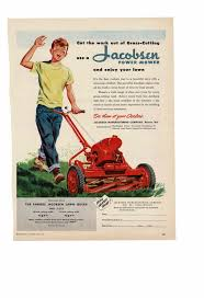 Lawn Mowing Ads Details About Vintage 1950 Jacobsen Gas Powered Lawn Mower Queen Boy Grass Happy Ad Print