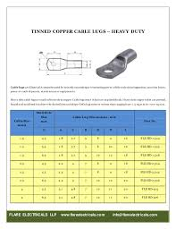 Flare Electricals Cable Lugs Catalogue