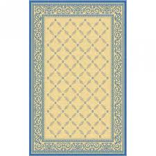 courtyard lattice scroll natural blue outdoor rug 2ft 4in x 6ft 7in