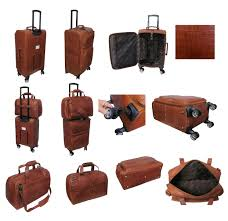 amerileather brown leather croco print two piece set traveler on spinner wheels 8602 2