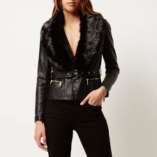 river island black faux fur collar biker coat tradingbasis