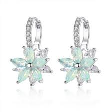 <b>fashion flower</b> zirconia silver <b>women's</b> earrings at Banggood