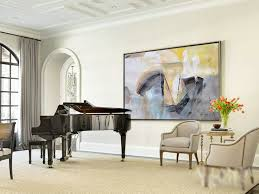 handmade original horizontal wall art abstract art canvas painting blue yellow grey