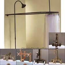clawfoot tub deckmount shower enclosure combo w faucet option