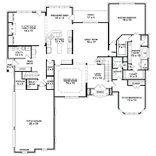 one story house plans various four bedroom fancy idea custom level floor bi walkout basement