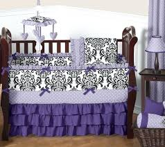 jojo crib bedding sets luxury purple lavender black white damask polka dot baby girls crib bedding