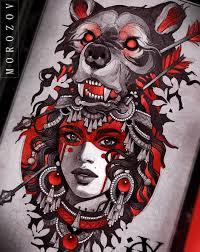 эскиз татуировки с девушкой и медведем идея тату 16