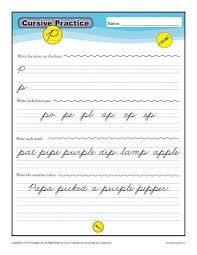 cursive word practice cursive p letter p worksheets for handwriting practice
