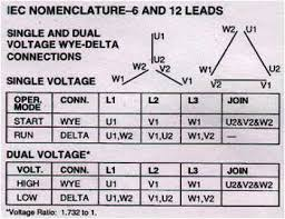 electric motor connections 3 phase 1 phase electric motors dual voltage wye start delta run 12 leads iec