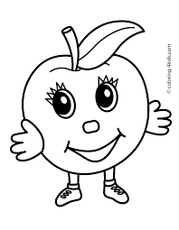 Apple Character Fruits Coloring Pages Simple