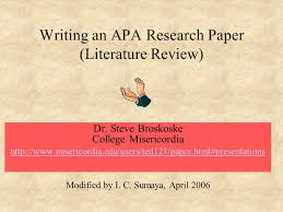 Literature Review Example Apa Writing An Apa Research Paper Literature Review Ppt