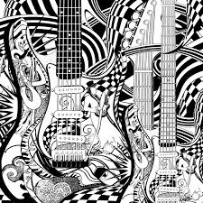 Small Picture Guitars adult coloring page by JuleezGallery Zentangles