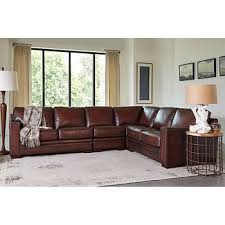 Brown leather living room furniture Chesterfield Lounge Luca 4piece Top Grain Leather Sectional Costco Wholesale Living Room Furniture Costco