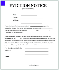 Printable Eviction Notice Template Business For Landlord Letter To