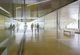 Image Reception Business People Walking In Modern Office Lobby Corridor Dissolve Business People Walking In Modern Office Lobby Corridor Stock