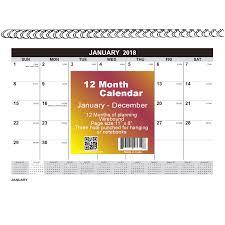 8x11 Calendar 21828 2018 12 Month Spiral Wall Calendar 8x11 Month Per Page
