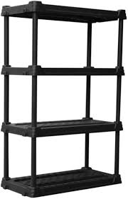 brilliant blue hawk shelving 56 5 in h x 36 w 18 d 4 tier plastic freestanding