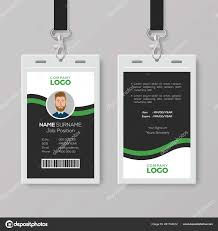 Company Id Card Template Corporate Id Card Template With Green Details Stock Vector