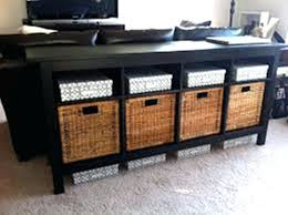 black sofa table with storage. Cherry Sofa Table With Storage Black Baskets . E