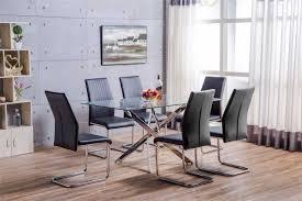 black and chrome furniture. Leonardo Glass And Chrome Metal Dining Table 6 Black Lorenzo Chairs Furniture
