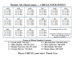How To Make A League Schedule Mon Open League 4 30 P M Curl Mesabi
