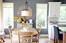 country style dining rooms. Open Layout Farmhouse Style Dining Room And Kitchen With Benjamin Moore Steel Wool, Cloud White Round Oak Table Home Decor In Country Rooms