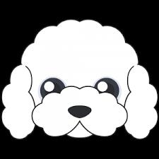 トイプードルの顔白 犬無料イラストフリー素材