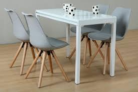 Paket 5tlg Essgruppe Esstisch Esszimmer Stuhl Stühle Glas Tisch Sitzgruppe Weiß Grau