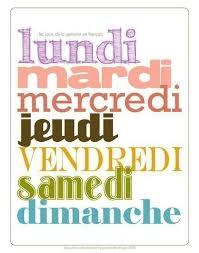 French Days Of The Week French Days Of The Week Poster Les Jours De By
