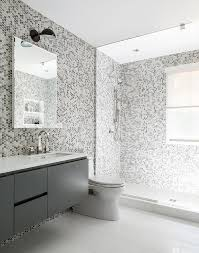 gray kids bathroom with gray hex tile walls