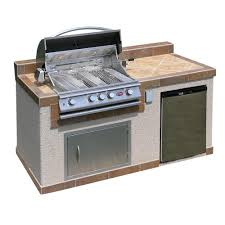 cal flame outdoor kitchen 4 burner barbecue grill island with refrigerator