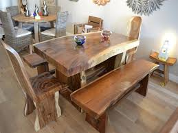 rustic solid wood dining table and bench