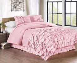 chezmoi collection 3 piece ella waterfall ruffle duvet cover set king pink