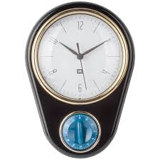present time retro wall clock with kitchen timer black image 1