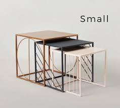 metal top coffee table. Geometric Nesting Table Small, Nude Pink Epoxy With Metal Top Coffee