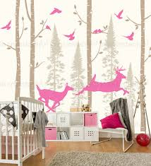 tree wall decal birch fir with birds and deer custom baby nursery children s room interior designs easy squeegee 146