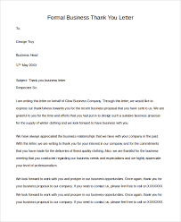 Formal Business Thank You Letters Scrumps
